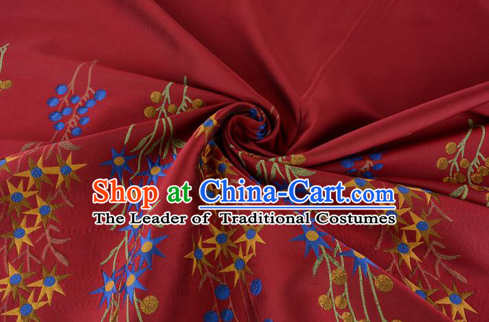 Chinese Traditional Costume Royal Palace Flowers Pattern Wine Red Brocade Fabric, Chinese Ancient Clothing Drapery Hanfu Cheongsam Material