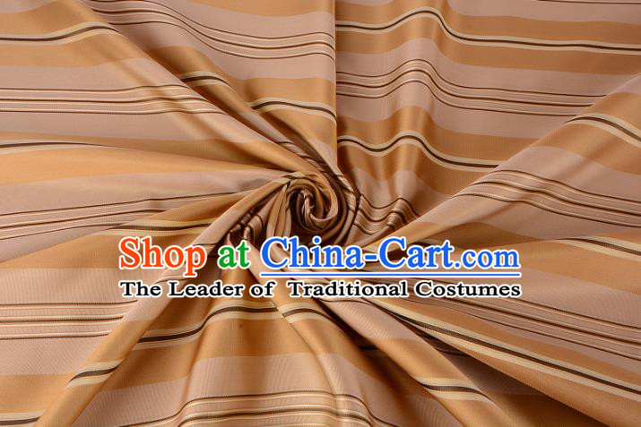 Chinese Traditional Costume Royal Palace Stripe Pattern Golden Silk Brocade Fabric, Chinese Ancient Clothing Drapery Hanfu Cheongsam Material