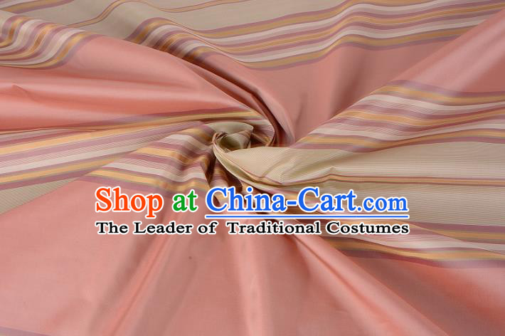 Chinese Traditional Costume Royal Palace Stripe Pattern Pink Silk Brocade Fabric, Chinese Ancient Clothing Drapery Hanfu Cheongsam Material