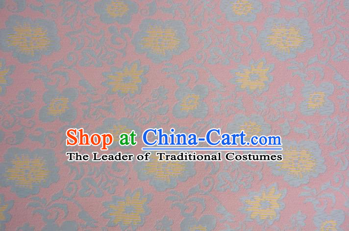 Chinese Traditional Costume Royal Palace Printing Flowers Pink Brocade Fabric, Chinese Ancient Clothing Drapery Hanfu Cheongsam Material