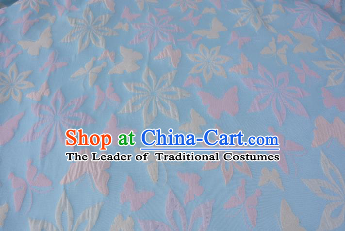 Chinese Traditional Costume Royal Palace Printing Butterfly Blue Brocade Fabric, Chinese Ancient Clothing Drapery Hanfu Cheongsam Material