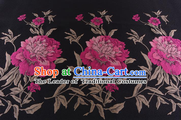 Chinese Traditional Costume Royal Palace Printing Peony Pattern Black Brocade Fabric, Chinese Ancient Clothing Drapery Hanfu Cheongsam Material