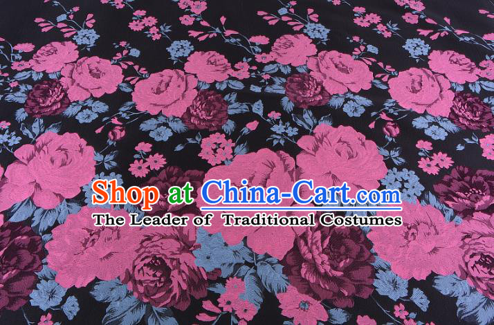 Chinese Traditional Costume Royal Palace Printing Pink Peony Pattern Black Brocade Fabric, Chinese Ancient Clothing Drapery Hanfu Cheongsam Material