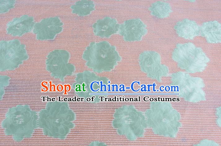 Chinese Traditional Costume Royal Palace Green Flowers Pattern Brocade Fabric, Chinese Ancient Clothing Drapery Hanfu Cheongsam Material