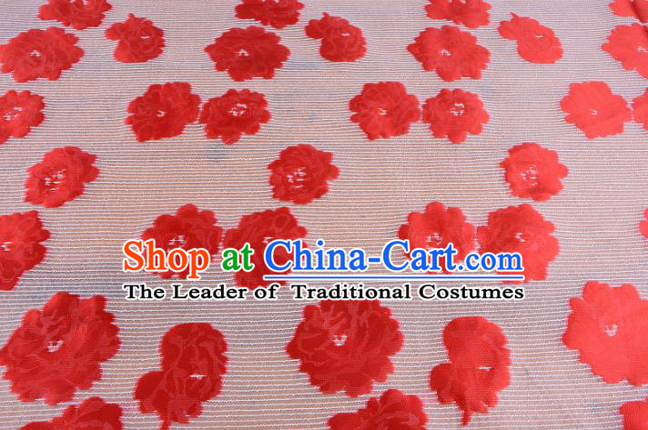 Chinese Traditional Costume Royal Palace Red Flowers Pattern Brocade Fabric, Chinese Ancient Clothing Drapery Hanfu Cheongsam Material
