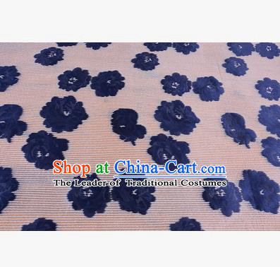 Chinese Traditional Costume Royal Palace Navy Flowers Pattern Brocade Fabric, Chinese Ancient Clothing Drapery Hanfu Cheongsam Material