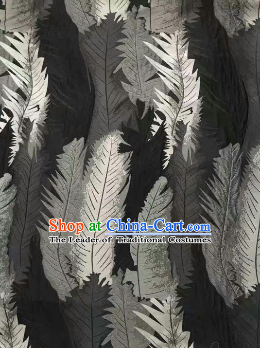 Chinese Traditional Costume Royal Palace Printing Feather Pattern Black Brocade Fabric, Chinese Ancient Clothing Drapery Hanfu Cheongsam Material