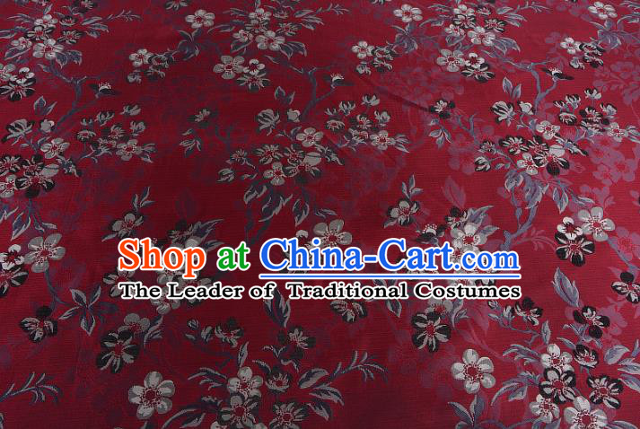 Chinese Traditional Costume Royal Palace Wintersweet Pattern Red Brocade Fabric, Chinese Ancient Clothing Drapery Hanfu Cheongsam Material