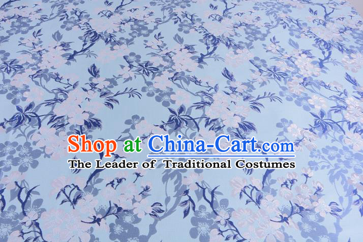 Chinese Traditional Costume Royal Palace Wintersweet Pattern Blue Brocade Fabric, Chinese Ancient Clothing Drapery Hanfu Cheongsam Material