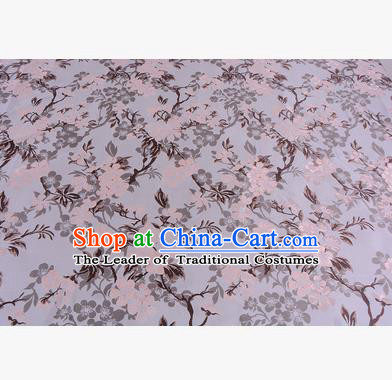 Chinese Traditional Costume Royal Palace Wintersweet Pattern Pink Brocade Fabric, Chinese Ancient Clothing Drapery Hanfu Cheongsam Material