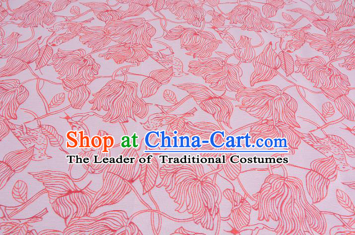 Chinese Traditional Costume Royal Palace Flowers Pattern Pink Brocade Fabric, Chinese Ancient Clothing Drapery Hanfu Cheongsam Material