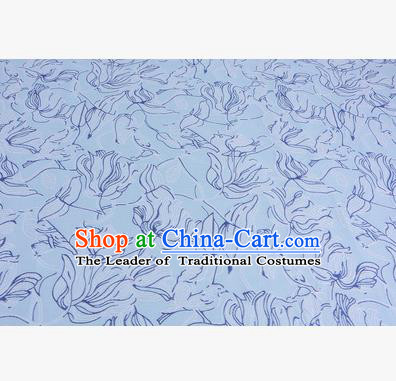 Chinese Traditional Costume Royal Palace Flowers Pattern Blue Brocade Fabric, Chinese Ancient Clothing Drapery Hanfu Cheongsam Material