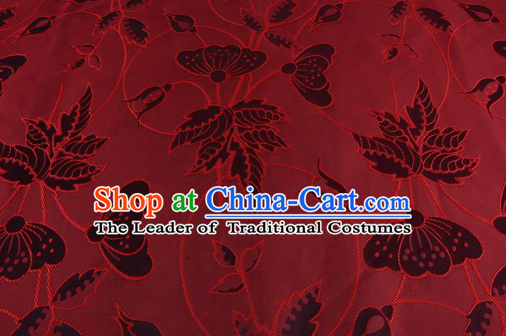 Chinese Traditional Costume Royal Palace Butterfly Pattern Red Brocade Fabric, Chinese Ancient Clothing Drapery Hanfu Cheongsam Material