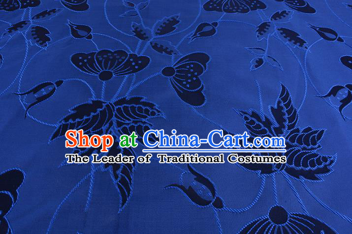 Chinese Traditional Costume Royal Palace Butterfly Pattern Blue Brocade Fabric, Chinese Ancient Clothing Drapery Hanfu Cheongsam Material