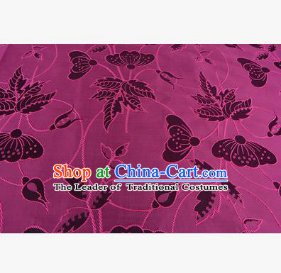 Chinese Traditional Costume Royal Palace Butterfly Pattern Rosy Brocade Fabric, Chinese Ancient Clothing Drapery Hanfu Cheongsam Material