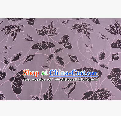 Chinese Traditional Costume Royal Palace Butterfly Pattern Lilac Brocade Fabric, Chinese Ancient Clothing Drapery Hanfu Cheongsam Material