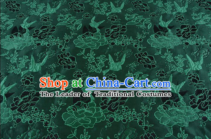 Chinese Traditional Costume Royal Palace Peony Pattern Green Brocade Fabric, Chinese Ancient Clothing Drapery Hanfu Cheongsam Material
