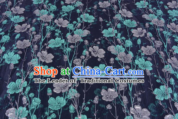 Chinese Traditional Costume Royal Palace Flowers Pattern Navy Brocade Fabric, Chinese Ancient Clothing Drapery Hanfu Cheongsam Material