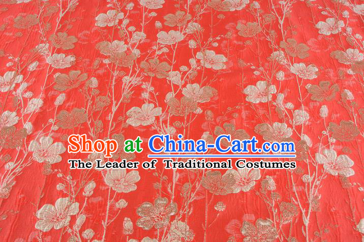 Chinese Traditional Costume Royal Palace Flowers Pattern Red Brocade Fabric, Chinese Ancient Clothing Drapery Hanfu Cheongsam Material