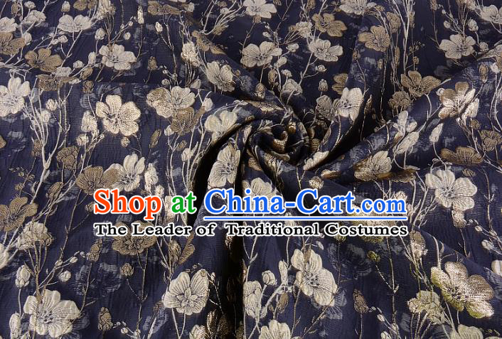 Chinese Traditional Costume Royal Palace Flowers Pattern Black Brocade Fabric, Chinese Ancient Clothing Drapery Hanfu Cheongsam Material