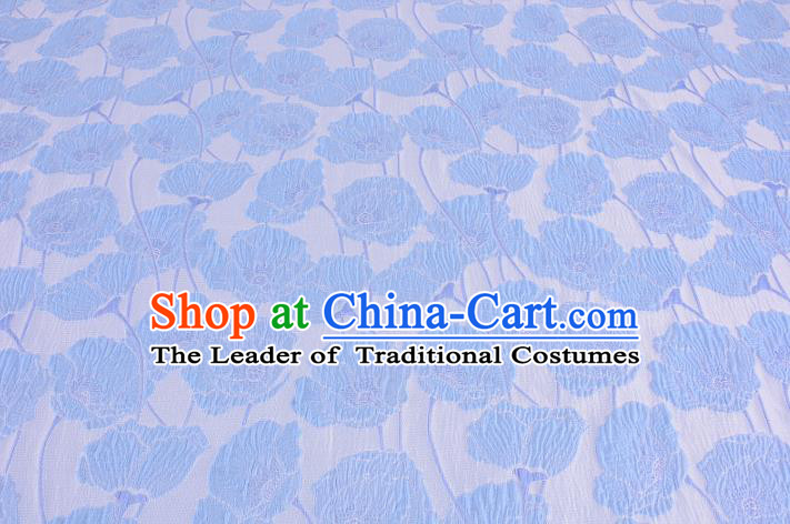 Chinese Traditional Costume Royal Palace Blue Flowers Satin Brocade Fabric, Chinese Ancient Clothing Drapery Hanfu Cheongsam Material