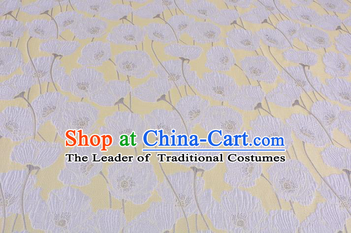 Chinese Traditional Costume Royal Palace Flowers Yellow Satin Brocade Fabric, Chinese Ancient Clothing Drapery Hanfu Cheongsam Material