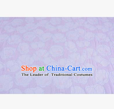 Chinese Traditional Costume Royal Palace Flowers Lilac Satin Brocade Fabric, Chinese Ancient Clothing Drapery Hanfu Cheongsam Material