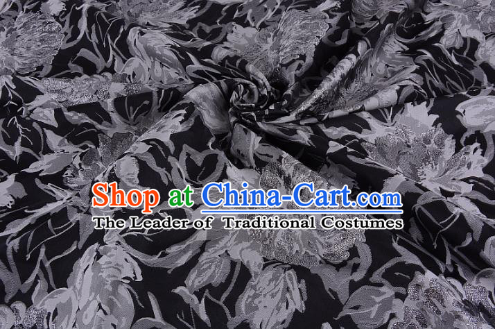 Chinese Traditional Costume Royal Palace Printing Peony Black Satin Brocade Fabric, Chinese Ancient Clothing Drapery Hanfu Cheongsam Material