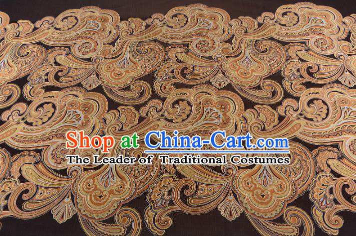Chinese Traditional Costume Royal Palace Printing Brown Satin Brocade Fabric, Chinese Ancient Clothing Drapery Hanfu Cheongsam Material
