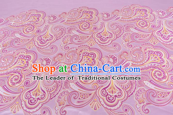 Chinese Traditional Costume Royal Palace Printing Pink Satin Brocade Fabric, Chinese Ancient Clothing Drapery Hanfu Cheongsam Material
