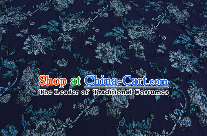 Chinese Traditional Costume Royal Palace Printing Flowers Navy Satin Brocade Fabric, Chinese Ancient Clothing Drapery Hanfu Cheongsam Material