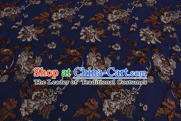 Chinese Traditional Costume Royal Palace Printing Flowers Dark Blue Satin Brocade Fabric, Chinese Ancient Clothing Drapery Hanfu Cheongsam Material