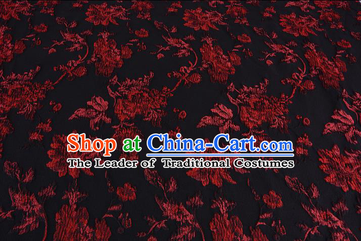 Chinese Traditional Costume Royal Palace Printing Flowers Black Satin Brocade Fabric, Chinese Ancient Clothing Drapery Hanfu Cheongsam Material