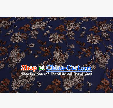 Chinese Traditional Costume Royal Palace Printing Flowers Deep Blue Satin Brocade Fabric, Chinese Ancient Clothing Drapery Hanfu Cheongsam Material