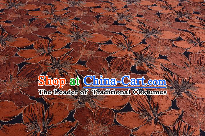 Chinese Traditional Costume Royal Palace Printing Orange Lily Flowers Black Satin Brocade Fabric, Chinese Ancient Clothing Drapery Hanfu Cheongsam Material