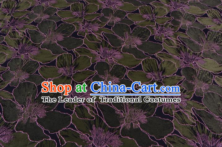 Chinese Traditional Costume Royal Palace Printing Green Lily Flowers Black Satin Brocade Fabric, Chinese Ancient Clothing Drapery Hanfu Cheongsam Material