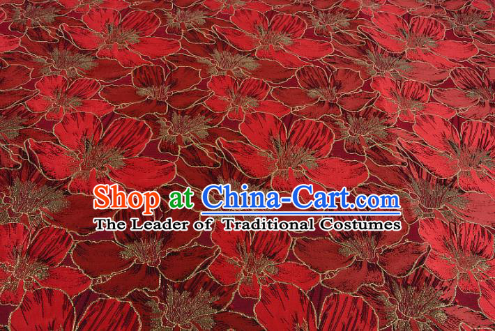 Chinese Traditional Costume Royal Palace Printing Red Lily Flowers Black Satin Brocade Fabric, Chinese Ancient Clothing Drapery Hanfu Cheongsam Material