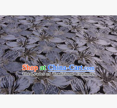 Chinese Traditional Costume Royal Palace Printing Grey Lily Flowers Black Satin Brocade Fabric, Chinese Ancient Clothing Drapery Hanfu Cheongsam Material