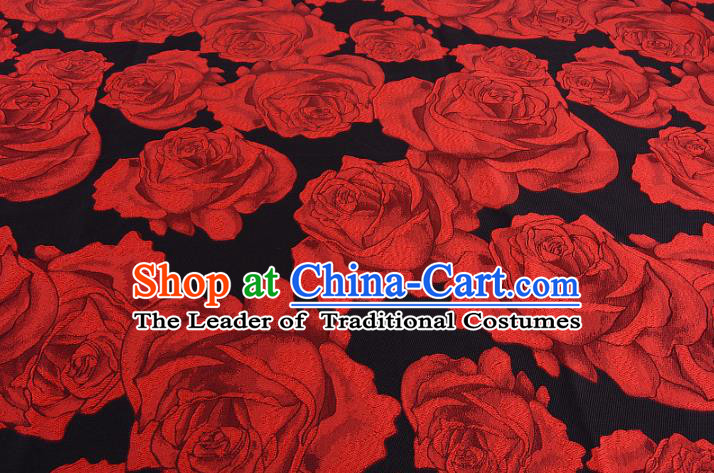 Chinese Traditional Costume Royal Palace Printing Red Rose Satin Brocade Fabric, Chinese Ancient Clothing Drapery Hanfu Cheongsam Material