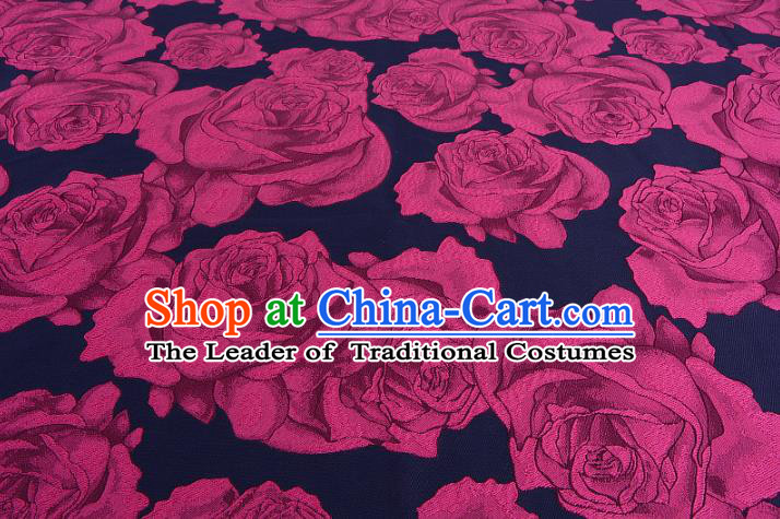 Chinese Traditional Costume Royal Palace Printing Rosy Rose Satin Brocade Fabric, Chinese Ancient Clothing Drapery Hanfu Cheongsam Material