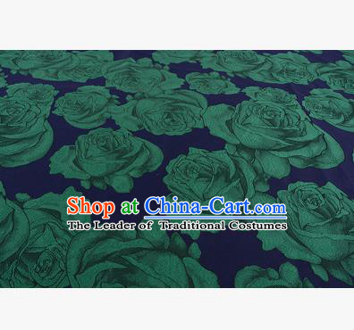 Chinese Traditional Costume Royal Palace Printing Green Rose Satin Brocade Fabric, Chinese Ancient Clothing Drapery Hanfu Cheongsam Material