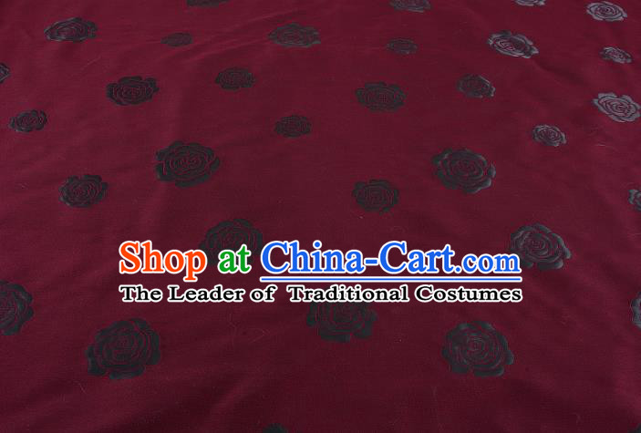 Chinese Traditional Costume Royal Palace Rose Pattern Wine Red Satin Brocade Fabric, Chinese Ancient Clothing Drapery Hanfu Cheongsam Material