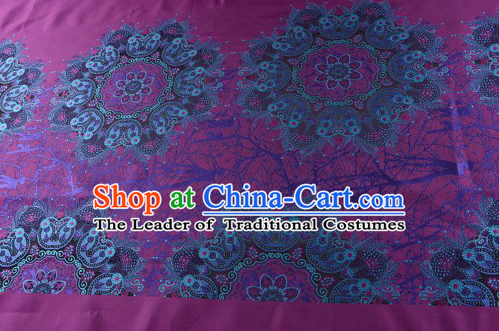 Chinese Traditional Costume Royal Palace Pattern Purple Satin Brocade Fabric, Chinese Ancient Clothing Drapery Hanfu Cheongsam Material