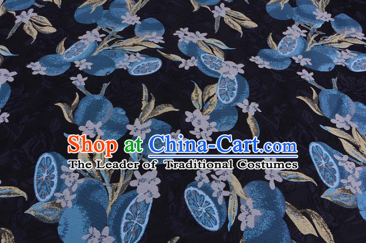 Chinese Traditional Costume Royal Palace Lotus Root Pattern Black Satin Brocade Fabric, Chinese Ancient Clothing Drapery Hanfu Cheongsam Material