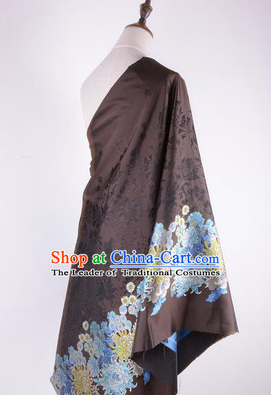 Chinese Traditional Costume Royal Palace Pattern Brown Brocade Fabric, Chinese Ancient Clothing Drapery Hanfu Cheongsam Material