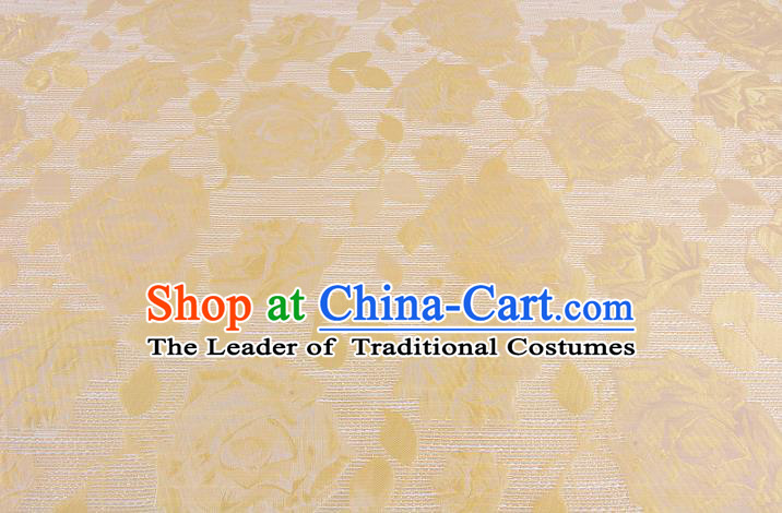 Chinese Traditional Costume Royal Palace Rose Pattern Yellow Brocade Fabric, Chinese Ancient Clothing Drapery Hanfu Cheongsam Material