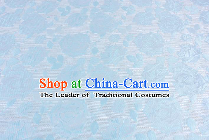 Chinese Traditional Costume Royal Palace Rose Pattern Blue Brocade Fabric, Chinese Ancient Clothing Drapery Hanfu Cheongsam Material