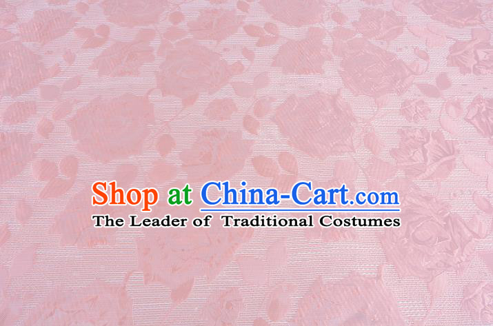Chinese Traditional Costume Royal Palace Rose Pattern Pink Brocade Fabric, Chinese Ancient Clothing Drapery Hanfu Cheongsam Material