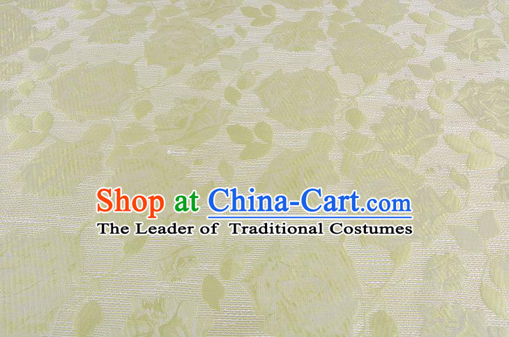 Chinese Traditional Costume Royal Palace Rose Pattern Green Brocade Fabric, Chinese Ancient Clothing Drapery Hanfu Cheongsam Material