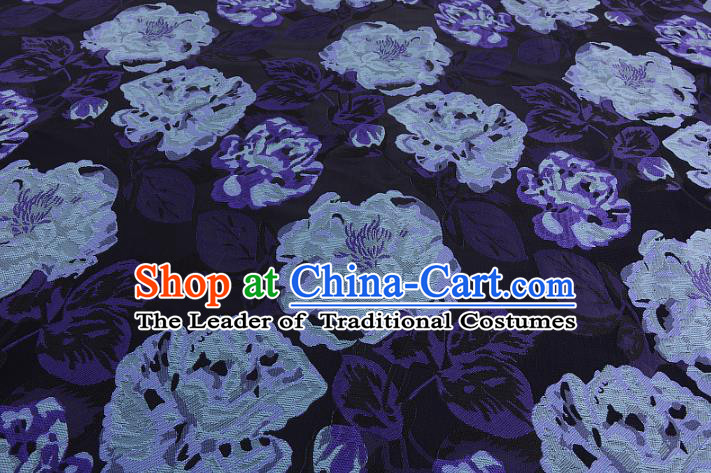 Chinese Traditional Costume Royal Palace Peony Pattern Navy Brocade Fabric, Chinese Ancient Clothing Drapery Hanfu Cheongsam Material